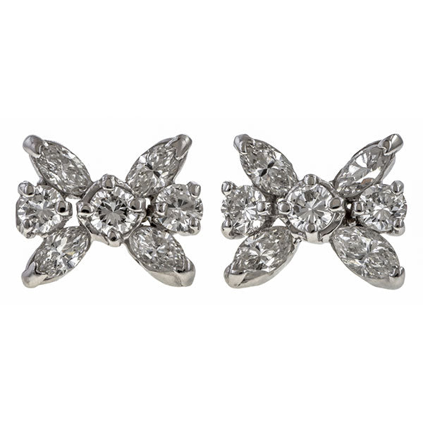 Vintage Diamond Cluster Earrings sold by Doyle & Doyle vintage and antique jewelry boutique.