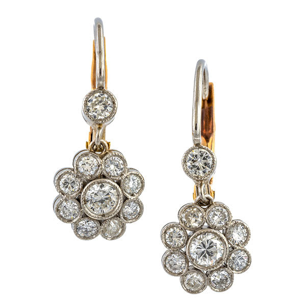Vintage Diamond Cluster Drop Earrings sold by Doyle & Doyle vintage and antique jewelry boutique.
