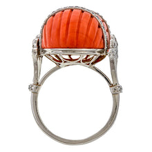 Vintage Coral & Diamond Ring sold by Doyle & Doyle vintage and antique jewelry boutique.