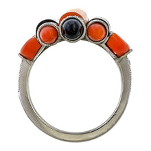 Art Deco Coral, Onyx & Diamond Ring sold by Doyle & Doyle vintage and antique jewelry boutique.