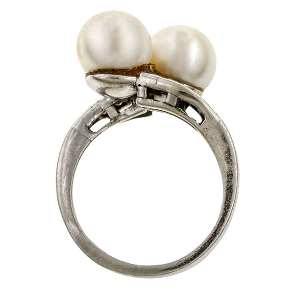 Vintage Pearl & Diamond Ring sold by Doyle & Doyle vintage and antique jewelry boutique.