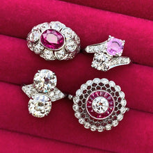 Vintage Twin Stone Ring, Pink Sapphire & Transition Round Brilliant Cut Diamond sold by Doyle & Doyle an antique & vintage jewelry boutique.