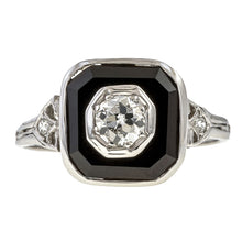 Art Deco Diamond & Onyx Ring, Old Euro 0.20ctw. sold by Doyle & Doyle vintage and antique jewelry boutique.