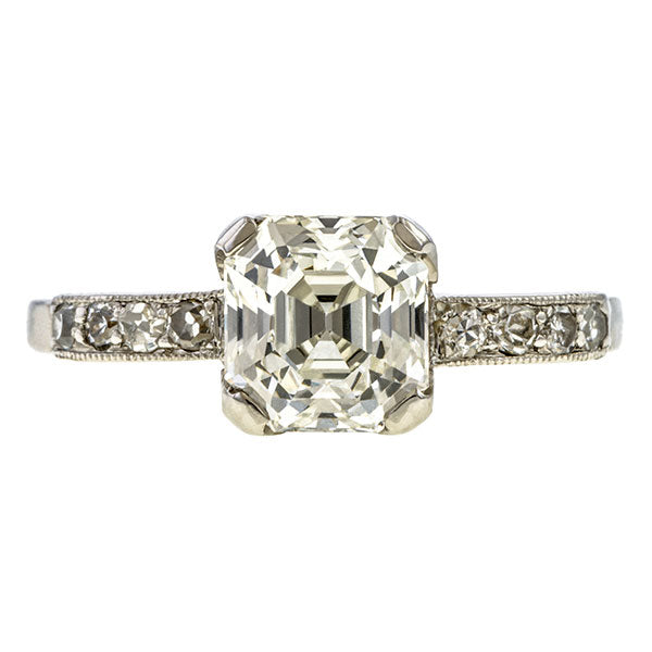 Vintage Asscher Cut Engagement Ring, 1.39ct. sold by Doyle & Doyle vintage and antique jewelry boutique.
