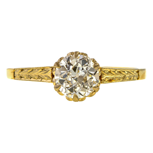 Vintage Solitaire Engagement Ring, Old Euro 0.79ct. sold by Doyle  & Doyle vintage and antique jewelry boutique.