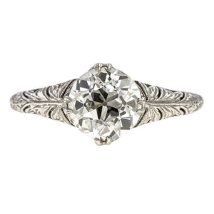 Art Deco Engagement Ring, Old Euro 1.32ct sold by Doyle & Doyle vintage and antique jewelry boutique.