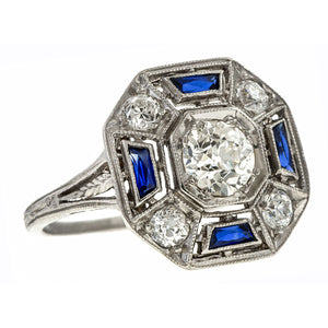 Art Deco Diamond & Sapphire Ring, 0.53ct. sold by Doyle & Doyle vintage and antique jewelry boutique.