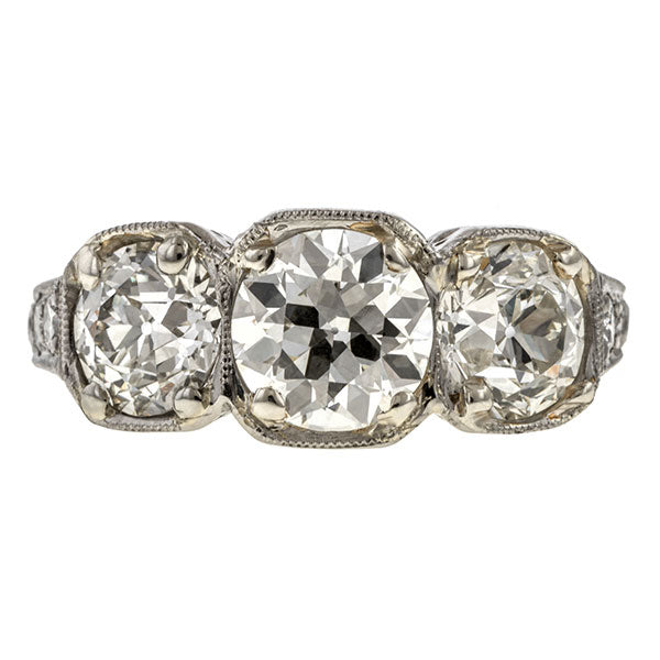 Vintage Three Stone Diamond Ring, 2.56ctw. sold by Doyle & Doyle vintage and antique jewelry boutique.