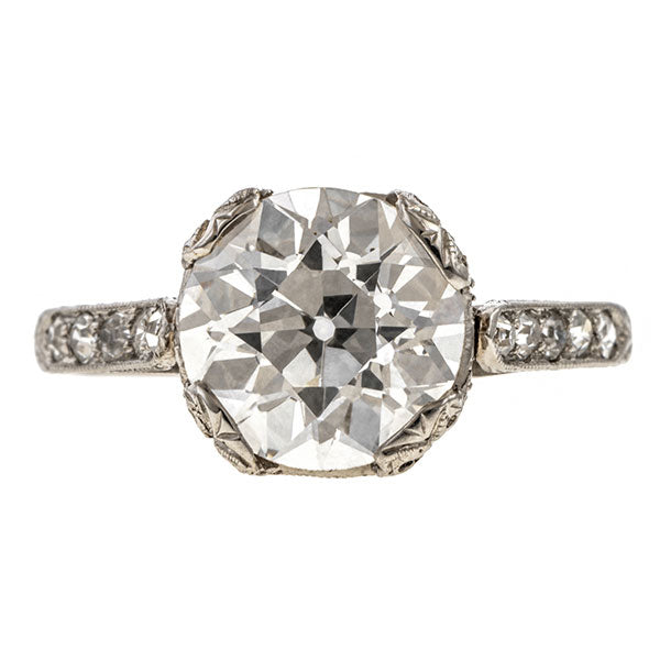 Vintage Tiffany & Co. Engagement Ring, Old Euro. 2.50ct. sold by Doyle & Doyle vintage and antique jewelry boutique.