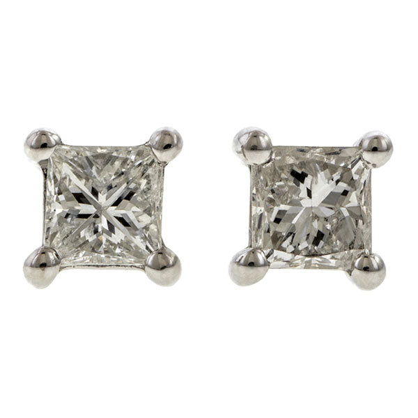 Square Diamond Stud Earrings, 0.27ctw., sold by Doyle & Doyle an antique and vintage jewelry boutique.
