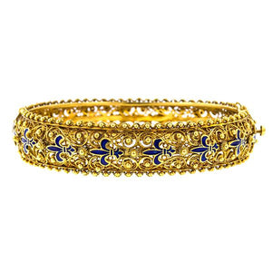Filigree Enamel Fleur de Lis Bracelet sold by Doyle & Doyle vintage and antique jewelry boutique.