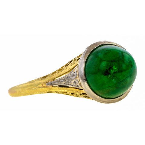 Art Deco Emerald Cabochon Ring sold by Doyle & Doyle vintage and antique jewelry boutique.