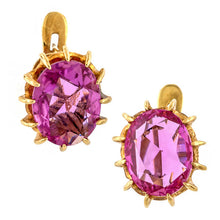 Antique Pink Sapphire Earrings sold by Doyle & Doyle vintage and antique jewelry boutique.