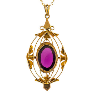 Antique Cabochon Garnet & Pearl Pendant sold by Doyle & Doyle vintage and antique jewelry boutique.