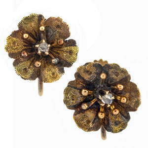 Vintage Diamond Flower Earrings sold by Doyle & Doyle vintage and antique jewelry boutique.