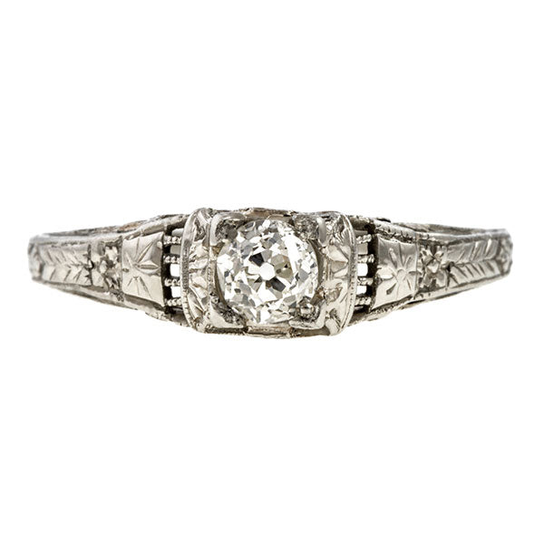 Art Deco Diamond Solitaire Engagement Ring, Old Euro 0.25ct. sold by Doyle & Doyle vintage and antique jewelry boutique.