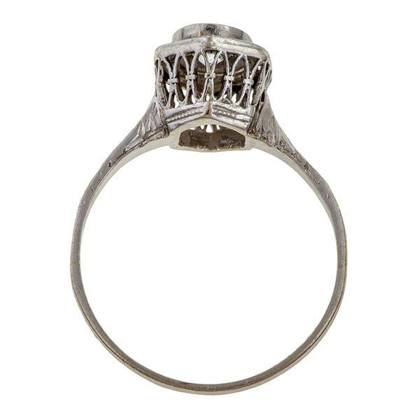 Art Deco Diamond Solitaire Ring, Old Euro 0.39ct. sold by Doyle & Doyle vintage and antique jewelry boutique.