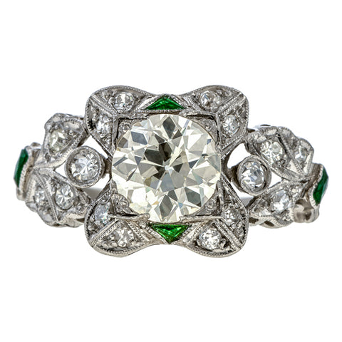 Vintage Engagement Ring, Old Euro 1.56ct. sold by Doyle & Doyle vintage and antique jewelry boutique.