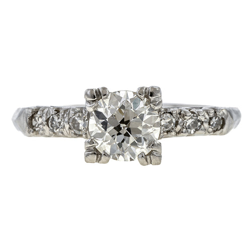 Vintage Engagement Ring, Old Mine 0.92ct. sold by Doyle & Doyle vintage and antique jewelry boutique.
