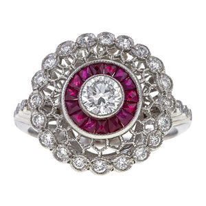 Filigree Diamond & Calibre Ruby sold by Doyle & Doyle vintage and antique jewelry boutique.