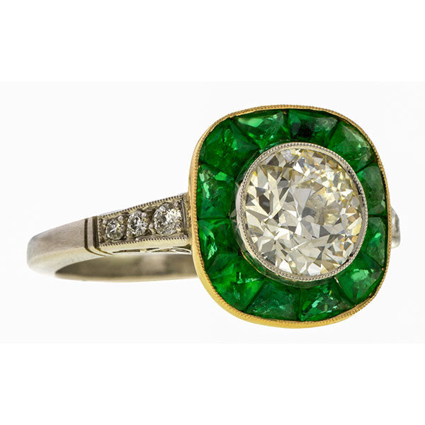 Old Euro Diamond & Emerald Engagement Ring, 1.41ct. sold by Doyle & Doyle a vintage and antique jewelry boutique.