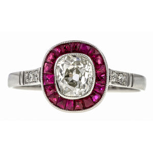 Old Mine Cut Diamond & Ruby Engagement Ring, 0.80ct.