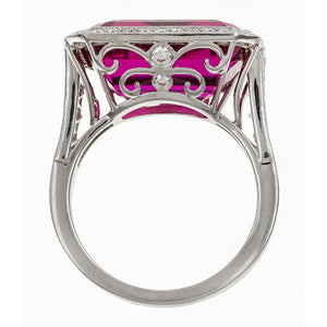 Emerald Cut Rubellite & Diamond Ring sold by Doyle & Doyle vintage and antique jewelry boutique.