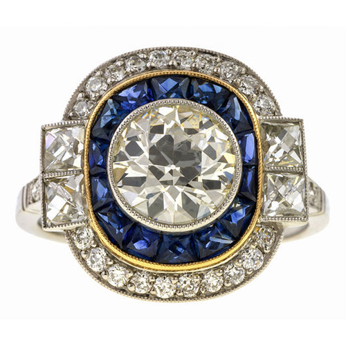 Old European Cut Diamond & Sapphire Ring, Old Euro 1.85ct.