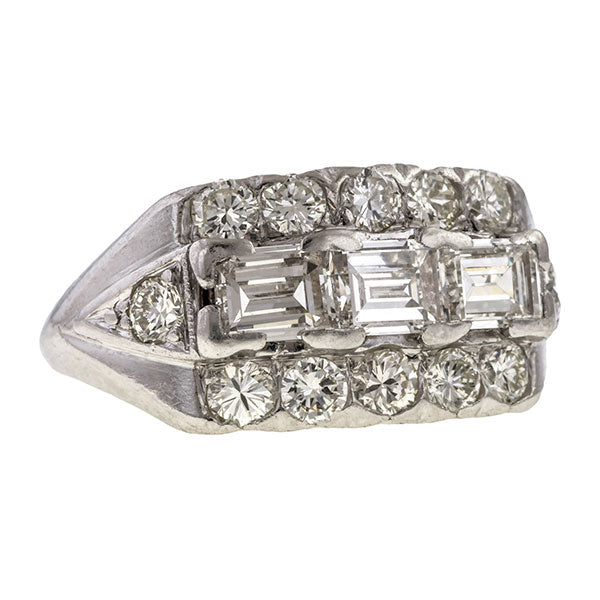 Vintage Rectangular Step Cut & Round Diamond Wedding Band Ring sold by Doyle & Doyle vintage and antique jewelry boutique.