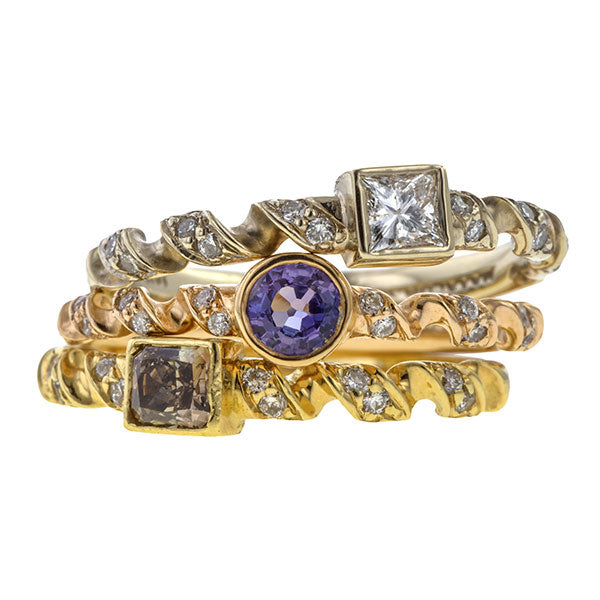 Estate Diamond, Brown Diamond & Purple Sapphire Stacking Rings sold by Doyle & Doyle vintage and antique jewelry boutique.