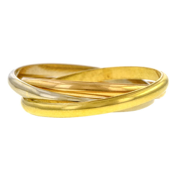 Vintage Tri Gold Rolling Ring sold by Doyle & Doyle vintage and antique jewelry boutique.