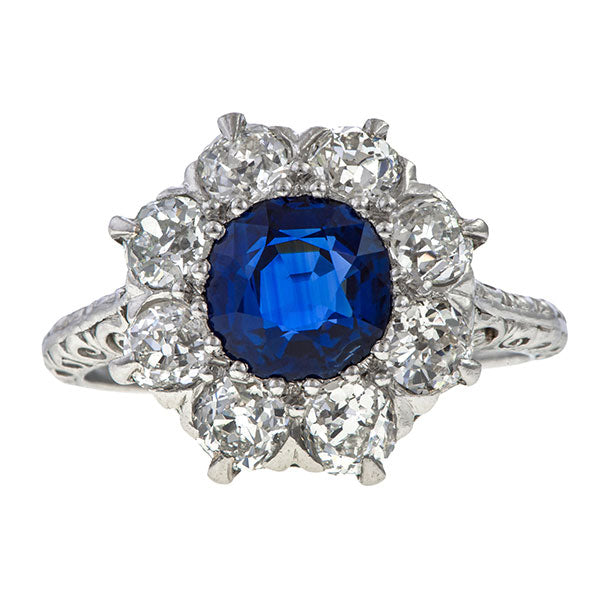 Antique Sapphire & Diamond Ring, 1.87ct, sold by Doyle & Doyle vintage and antique jewelry boutique.