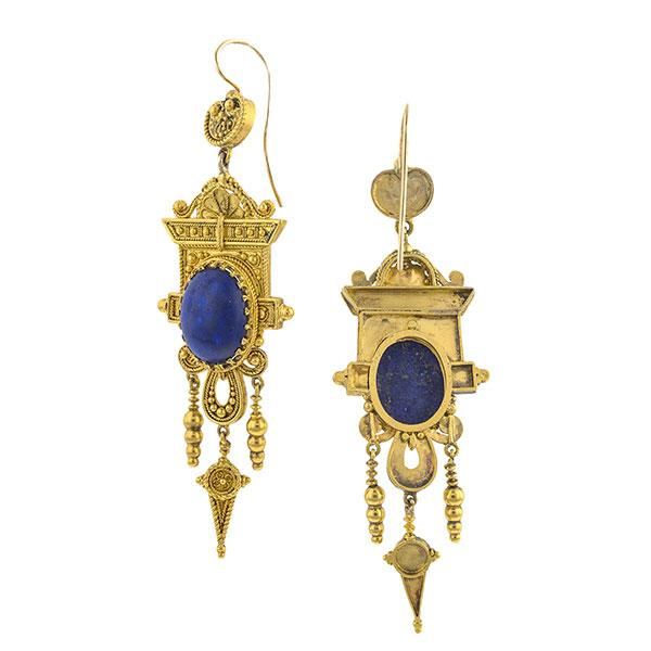 Victorian Etruscan Lapis Drop Earrings sold by Doyle & Doyle an antique & vintage jewelry boutique.