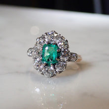 Victorian Emerald & Diamond Cluster Ring