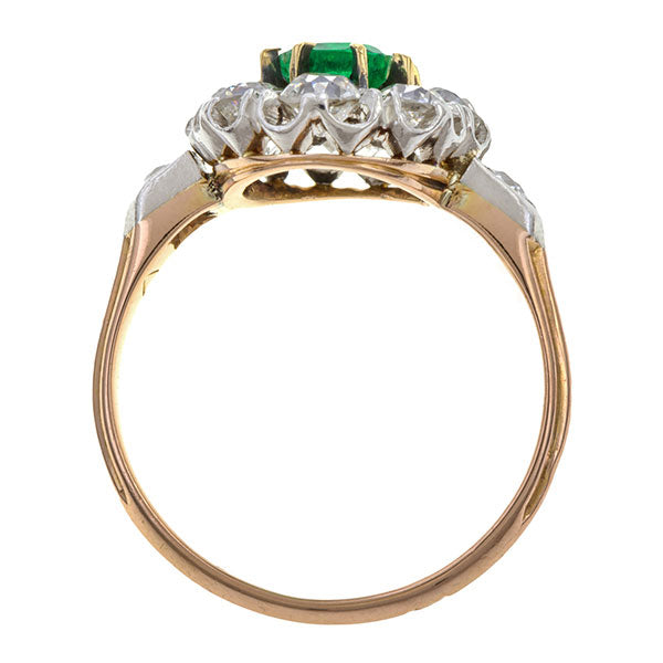 Victorian Emerald & Diamond Cluster Ring sold by Doyle & Doyle vintage and antique jewelry boutique.