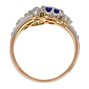 Victorian Sapphire & Diamond Twin Stone Ring sold by Doyle & Doyle vintage and antique jewelry boutique.