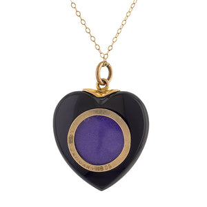 Edwardian Diamond & Onyx Heart Locket sold by Doyle & Doyle vintage and antique jewelry boutique.