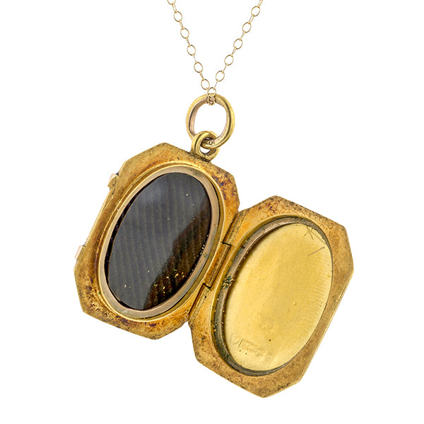Edwardian Diamond Locket Pendant Necklace sold by Doyle & Doyle vintage and antique jewelry boutique.