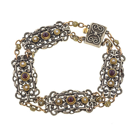 Victorian Garnet & Pearl Bracelet, Silver & Gold, sold by Doyle & Doyle an antique & vintage jewelry boutique.