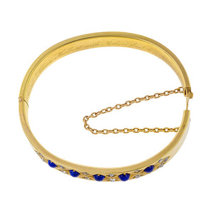 Edwardian Lapis & Diamond Bracelet sold by Doyle & Doyle an antique & vintage jewelry boutique.