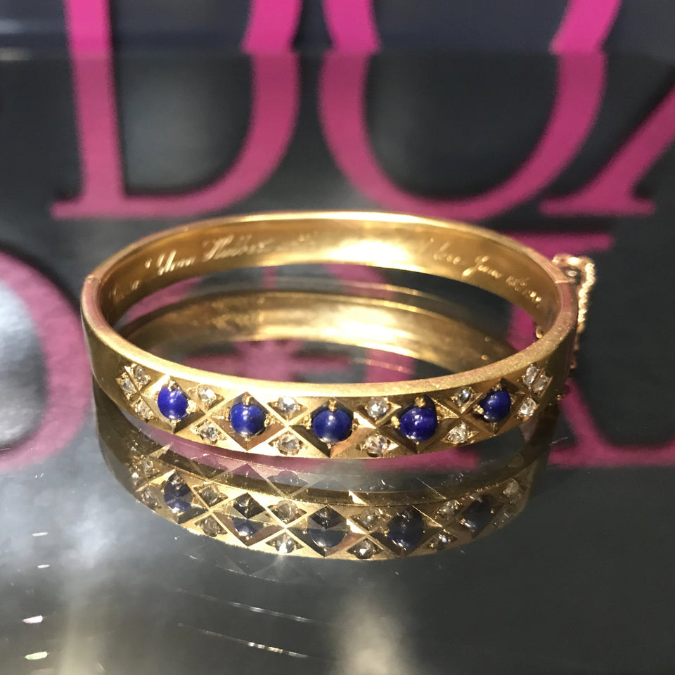 Edwardian Lapis & Diamond Bracelet
