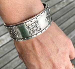 Victorian Silver Bangle Bracelet with embellishments 109862B