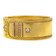 Victorian Etruscan Revival Diamond Bangle Bracelet sold by Doyle & Doyle an antique & vintage jewelry store.