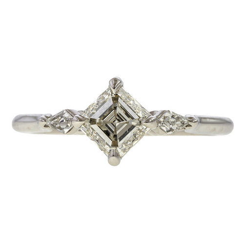 Engagement Ring, Asscher 1.00ct. sold by Doyle & Doyle vintage and antique jewelry boutique.
