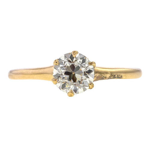 Vintage Solitaire Engagement Ring, Old Euro 0.83ct. sold by Doyle & Doyle vintage and antique jewelry boutique.
