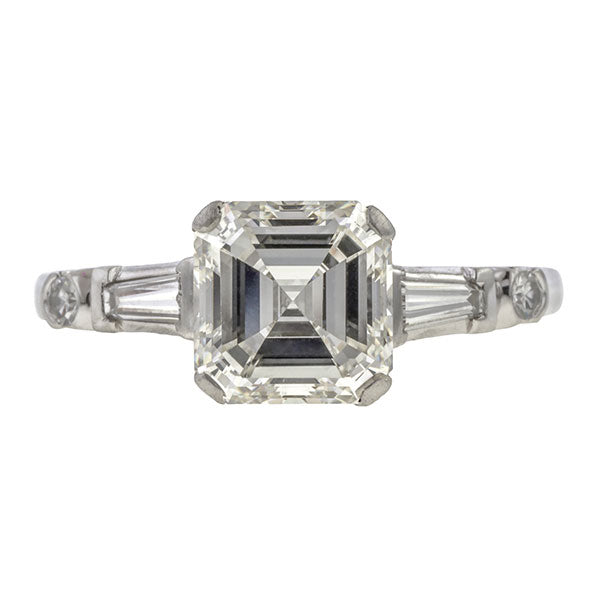 Vintage Asscher Cut Engagement Ring, 2.06ct. sold by Doyle & Doyle vintage and antique jewelry boutique.