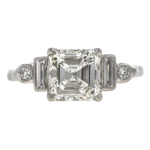 Vintage Asscher Cut Engagement Ring Step Sides, 2.01ct. sold by Doyle & Doyle vintage and antique jewelry boutique.