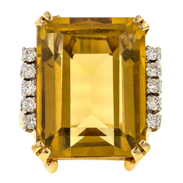 Retro Citrine & Diamond Ring sold by Doyle & Doyle vintage and antique jewelry boutique.
