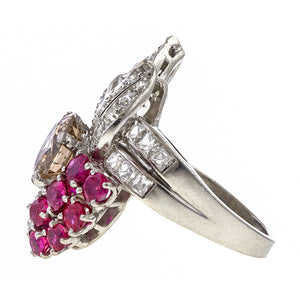 Vintage Brown & White Diamond & Ruby Ring