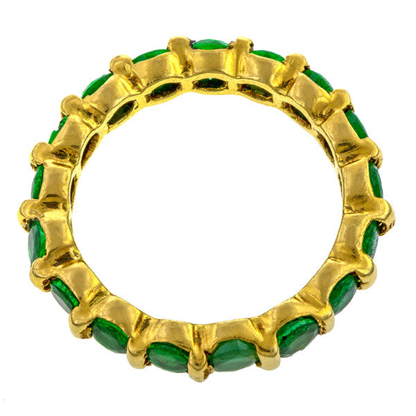 Vintage Emerald Eternity Band sold by Doyle & Doyle vintage and antique jewelry boutique.